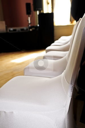 Seating at a wedding ceremony stock photo, Row of chairs at a wedding ceremony by Elena Elisseeva