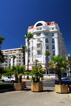 Croisette promenade in Cannes, France stock photo, Luxury hotel on Croisette promenade in Cannes, France by Elena Elisseeva