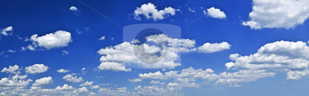 Panoramic blue sky with white clouds stock photo, Panoramic background of blue sky with white cumulus clouds by Elena Elisseeva