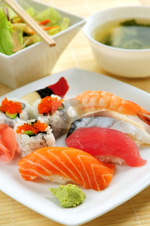 Sushi lunch stock photo, Sushi lunch with miso soup and green salad by Elena Elisseeva