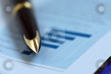 Pen finance chart stock photo, Golden pen on financial chart by Elena Elisseeva