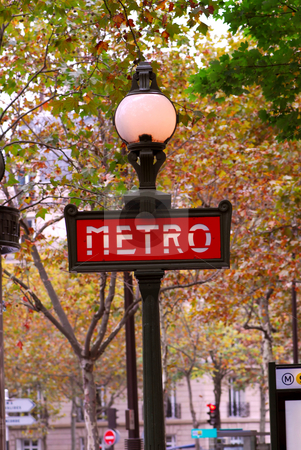 Paris metro stock photo, Red metro sign in Paris France on background of fall trees by Elena Elisseeva
