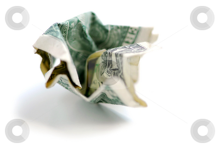 Crumpled dollar bill stock photo, Crumpled one us dollar bill by Elena Elisseeva