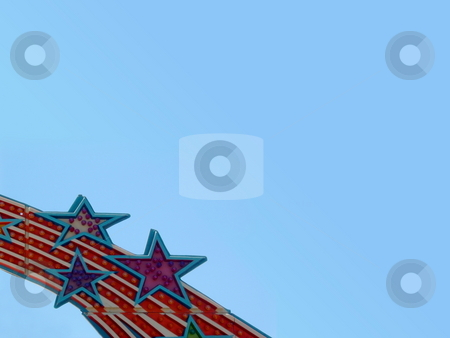 Stars stock photo, Lights in the form of stars on a ride at a fair. by Henrik Lehnerer