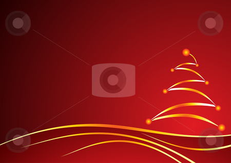 Christmas red background stock vector clipart, Gold shining christmas tree on red background by Oxygen64