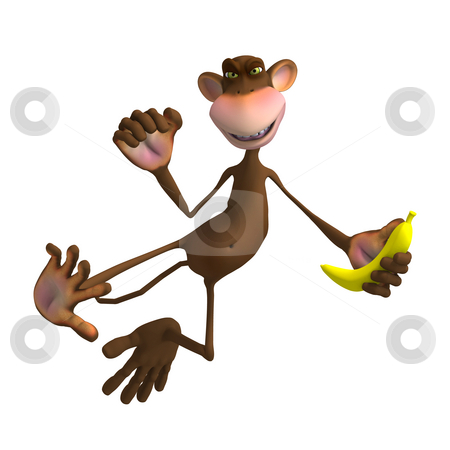 Monkey Business stock photo, Render of a funny Toon Monkey with Clipping Path by Ralf Kraft