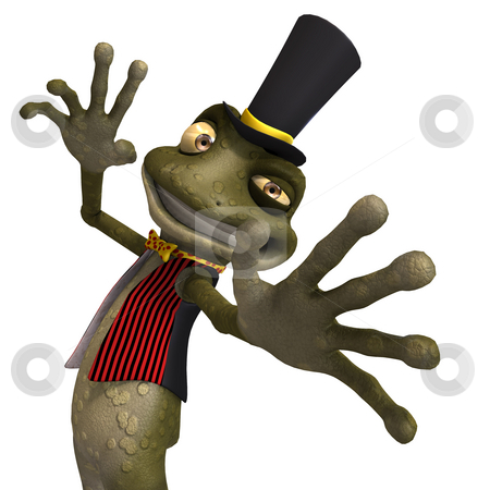 Green cute toon toad or frog stock photo, Cartoon toad or frog with Clipping Path over white by Ralf Kraft