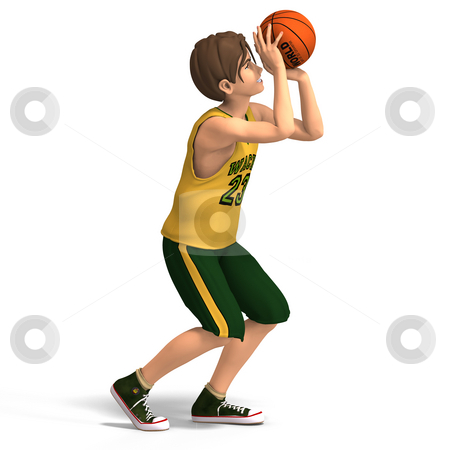 Young man plays basketball stock photo, A very young toon character plays basketball With Clipping Path by Ralf Kraft