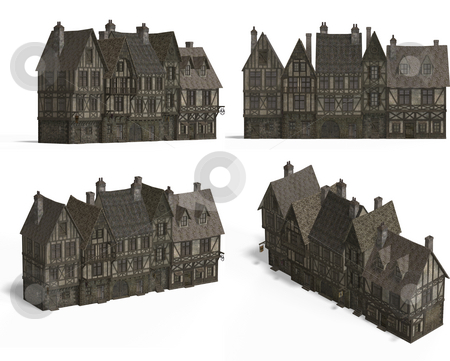 Row of Medieval Houses stock photo, Four Views of an old fashioned house over white by Ralf Kraft