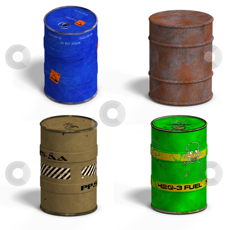 Barrel Collection stock photo, Collection of four barrels with Clipping Path over white by Ralf Kraft