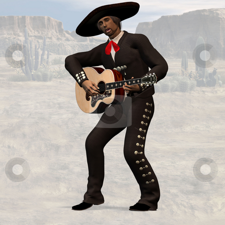 Mexican with guitar stock photo, Wild West Series with Cowboys, Indians, Good and Bad Guys Image contains a Clipping Path / Cutting Path for the main object by Ralf Kraft