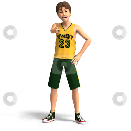 Basketball player stock photo, Young manga character in basketball clothes With Clipping Path by Ralf Kraft