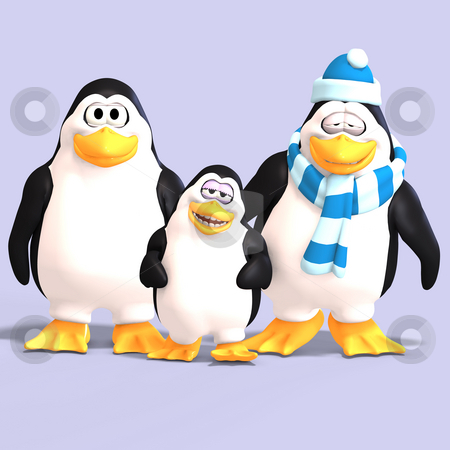 Toon penguin family  stock photo, Cute penguin family with father mother child and Clipping Path by Ralf Kraft