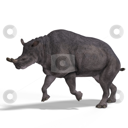 Dinosaur Brontotherium stock photo, Dinosaur Brontotherium With Clipping Path over white by Ralf Kraft