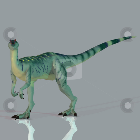 Dilophosaurus stock photo, Rendered Image of a Dinosaur - with Clipping Path by Ralf Kraft