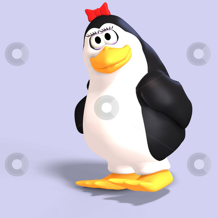 Female toon penguin stock photo, Cute female toon penguin with Clipping Path over blue by Ralf Kraft