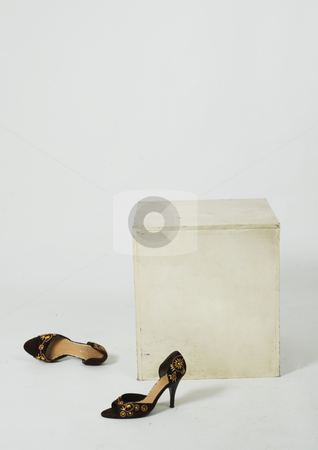 Where's the model gone? stock photo, Shoes left by a model when she went to change her hair or something, lost shoes in a white background. by Damian Keane