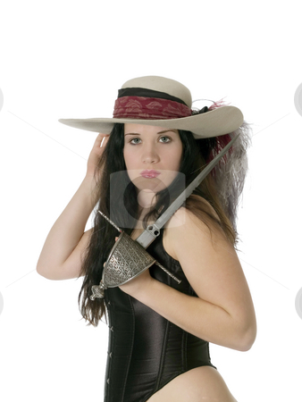 Woman in feathered hat with dagger and corset stock photo, Young woman in black corset with a dagger and feathered hat by Jeff Cleveland