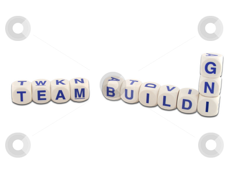 Team Building stock photo, Team building in blocks isolated on white by Adrian Mace