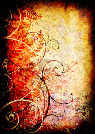 Gothic grunge floral stock photo, Grunge background in brown with a floral theme by Michael Travers