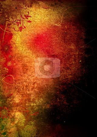 Grunge floral golden stock photo, Golden grunge floral background ideal as a backdrop by Michael Travers