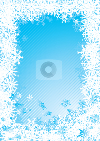 Snowflake fall cold stock photo, Christmas background with snow flake border in blue by Michael Travers