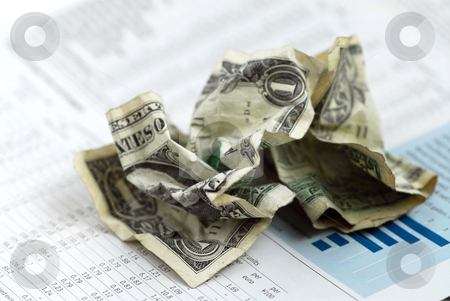 Money finance chart stock photo, Crumpled US dollars on financial chart report by Elena Elisseeva