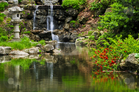 Cascading waterfall and pond stock photo, Cascading waterfall and pond in japanese garden by Elena Elisseeva