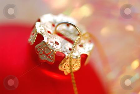 Christmas ornament stock photo, Closeup of red christmas tree glass ball by Elena Elisseeva