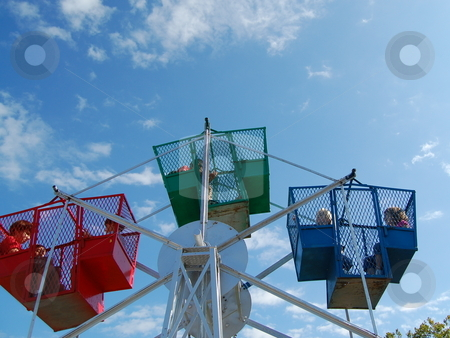 Child's ferris wheel against a bright blue sky stock photo, Editorial use only by Heather Shelley