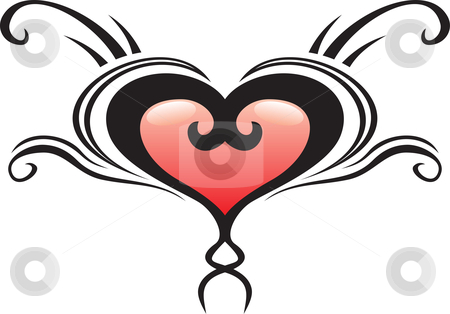 Heart crest tattoo stock vector clipart, Illustration of heart crest ideal for tattoo by Oxygen64