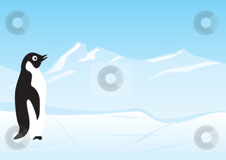 Penguin stock vector clipart, Lonely penguin at floe on north pole by Oxygen64