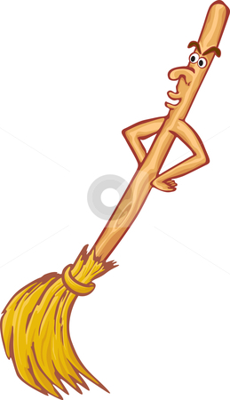 Cartoon broom stock vector clipart, Cartoon live broom isolated on white background by Oxygen64
