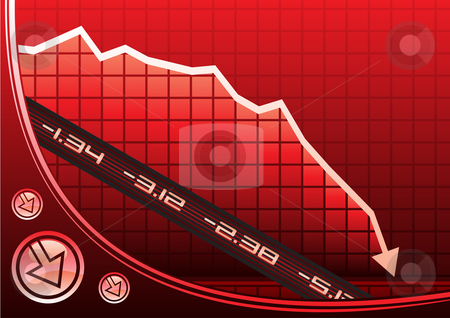 Recession on graph stock vector clipart, Arrow on graph going down due of recession by Oxygen64