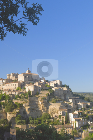 Hill Village Sunset stock photo, Hill village in the Vaucluse in the south of France at sunset by Angela Arenal