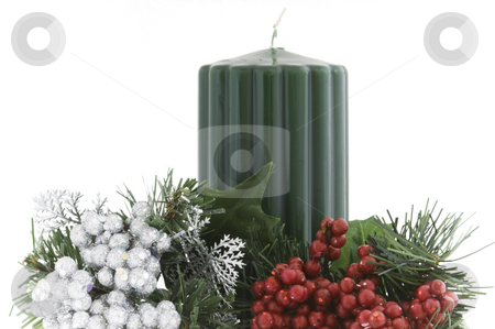 Dime Store Decoration stock photo, Holiday decoration using inexpensive elements on a white background by Angela Arenal