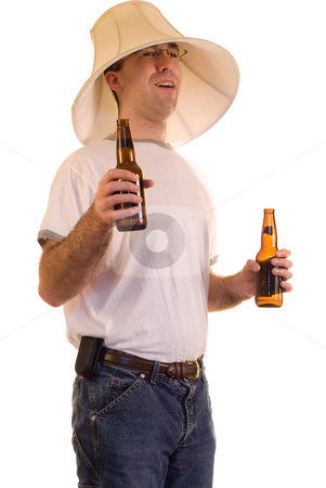 Drunk Man stock photo, A drunk man wearing a lamp shade on his head by Richard Nelson