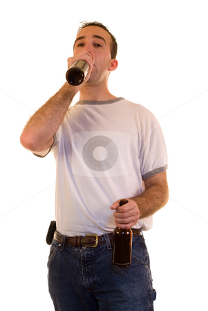 Drinking Beer stock photo, A man drinking a bottle of beer, isolated against a white background by Richard Nelson