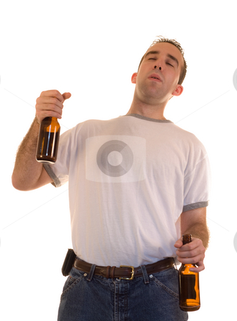 Drunk Male stock photo, A drunk male holding a beer in each hand, isolated against a white background by Richard Nelson