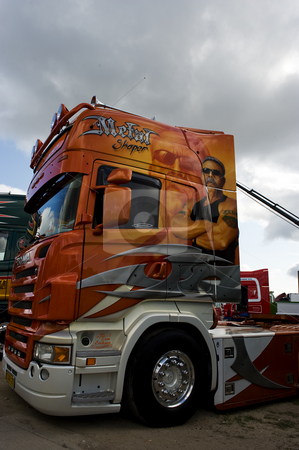 American Chopper concept truck Scania stock photo, Scania truck decorated with clearly inspiration from the orange county chopper series. by Flemming Jacobsen