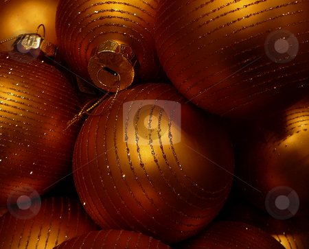 Golden ornaments stock photo, Golden christmas ornaments by Per W?