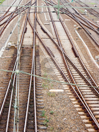 Railway tracks stock photo, A lot of railway tracks coming together by Karin Claus