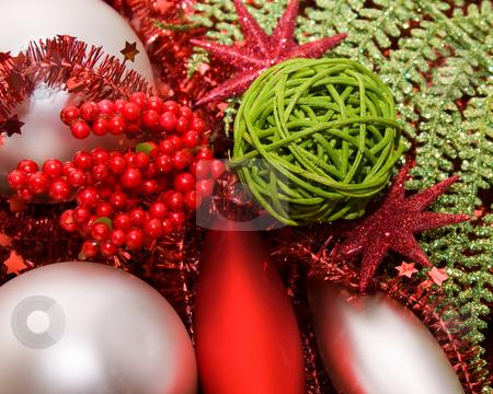 Xmas decoration ornaments    stock photo, Xmas decoration ornaments in silver and green and red by Karin Claus