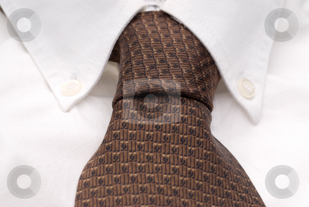 Close-up of a white dress shirt and tie stock photo, Close-up of a white dress shirt and tie by Vince Clements