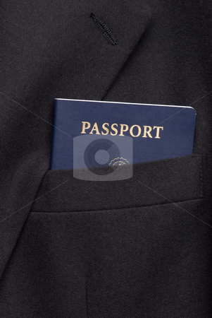 Business suit coat with passport stock photo, Business suit coat with passport in pocket by Vince Clements
