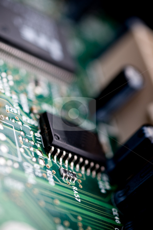 Extreme close-up of a circuit board stock photo, Extreme close-up of a circuit board by Vince Clements