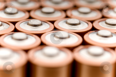 Macro of used batteries stock photo, Macro of used batteries ready for recycling by Vince Clements