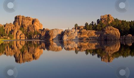 Sylvan Lake Reflection stock photo, Sylvan Lake, Custer State Park. South Dakota by John McLaird