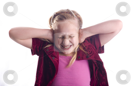 Girl Covering Ears stock photo, Girl covering her ears because it is too loud isolated on white by John McLaird