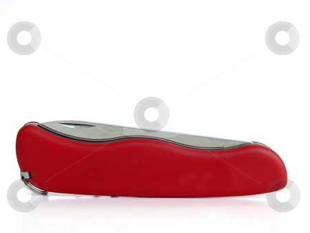 Pocket knife stock photo, Red pocket knife isolated on white by Martin Darley